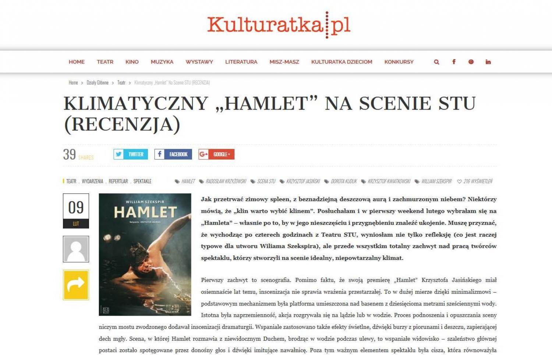 """RECENZJA: Klimatyczny """"Hamlet"""" na Scenie STU"""