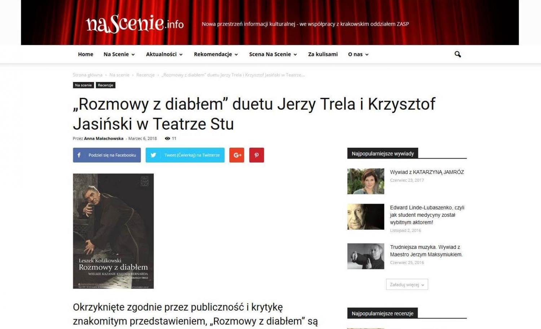 """RECENZJA: """"Rozmowy z diabłem"""" duetu Jerzy Trela i Krzysztof Jasiński w Teatrze Stu"""