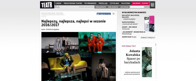 """""""Inne rozkosze"""" docenione przez ankietę krytyków miesięcznika TEATR"""