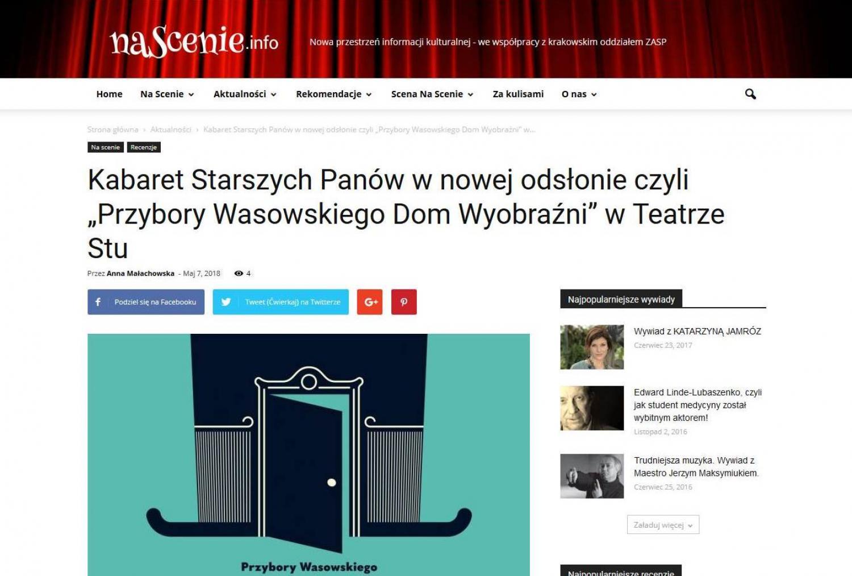 """RECENZJA: Kabaret Starszych Panów w nowej odsłonie czyli """"Przybory Wasowskiego Dom Wyobraźni"""" w Teatrze Stu"""